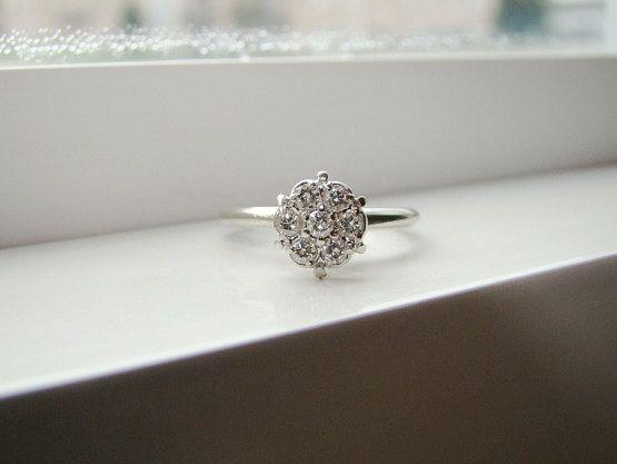 Antique Diamond Engagement Ring Vintage Flower Wedding Ring Mid Century White 14K Gold Size 5.25