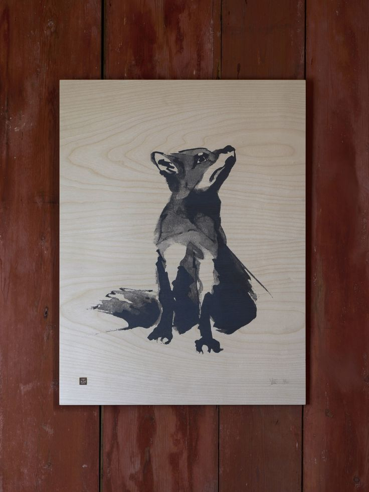 Red Fox Fine Art Print on Wood Teemu Järvi Illustrations http://www.teemujarvi.com/en/shop/wood-prints/85-red-fox.html Photo: Unto Rautio