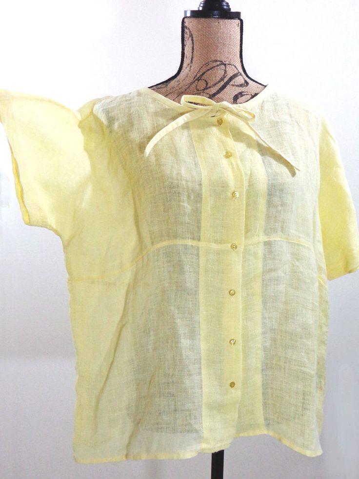 ART TO WEAR Lagenlook Eileen Fisher blouse artsy top yellow designer Linen sz L #EileenFisher #Blouse #Formal