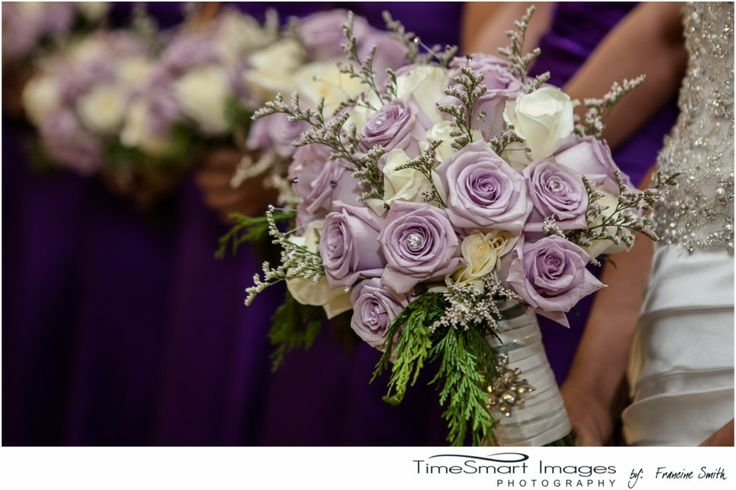 Pittsburgh winter wedding lilac cream wedding flowers for Cream and purple wedding dresses