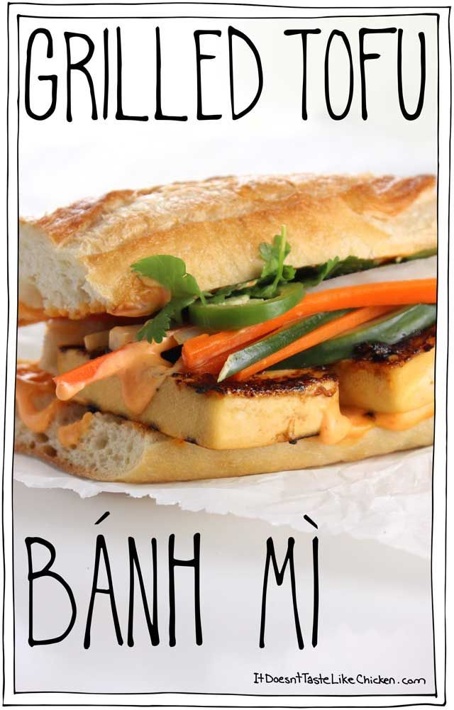 Layers of seasoned grilled tofu, a creamy spicy spread of homemade Sriracha mayonnaise, sweet salty and crunchy pickled veggies piled high, garnished with fresh cilantro and jalapeno, all on top of a soft chewy baguette. ← THIS is the king of sandwiches,
