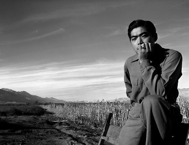 Tom Kobayashi, Manzanar War Relocation Center, Owens Valley, California, 1943, Ansel Adams, public domain via Wikimedia Commons.