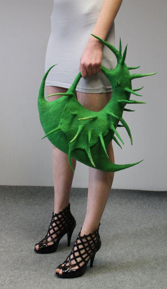 Felted handbag: Cactus II