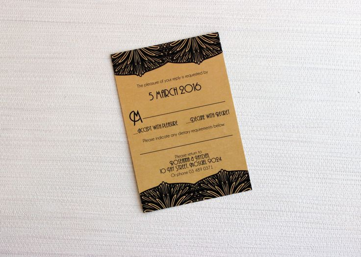art deco reply card