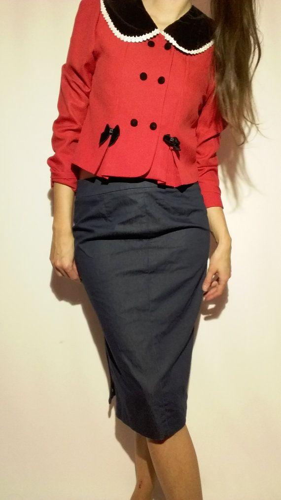 Girl Chic Jacket / Vintage Girl Coat / 90s Red Woman Coat / Teenage Girls Jacket / Vintage Woman Jacket / 90s Cute Jacket / Christmas jacket