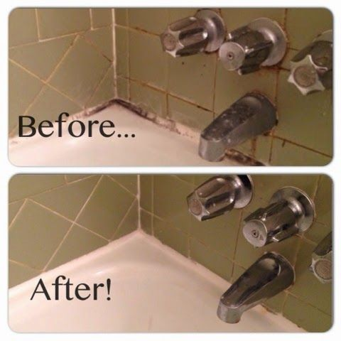 How to clean tile grout and caulk! Bleach, baking soda, and cotton coils... NO SCRUBBING REQUIRED!!!!!