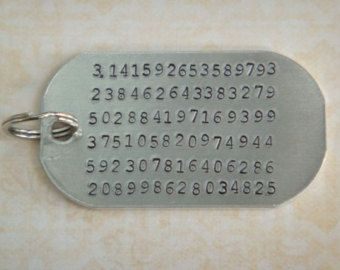 Pi Keychain / Math Keychain / Hand Stamped Aluminum Keychain