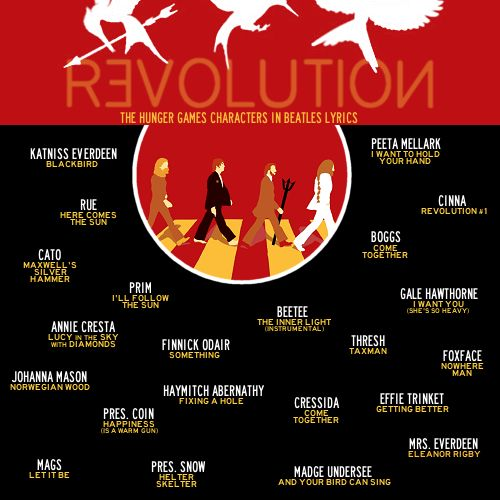 REVOLUTION (The Hunger Games Characters In Beatles Lyrics) click to see the lyrics! it's actually pretty cool someone took the time to find a lot of the characters in Beatles songs.