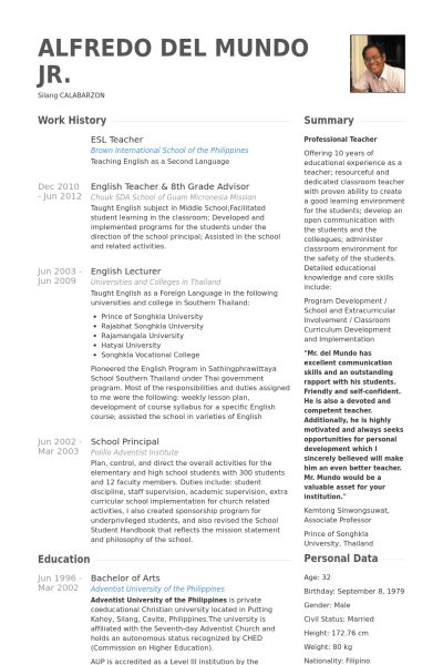 37 best Resume \ Portfolio Design images on Pinterest Resume - esl teacher sample resume