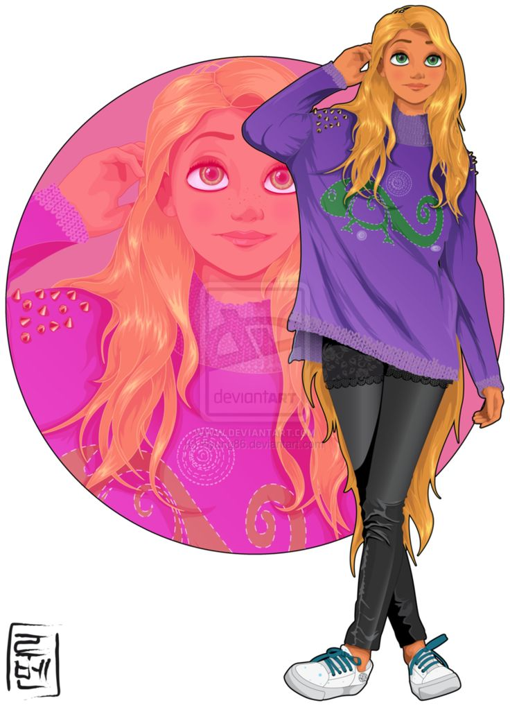 Disney University -  Rapunzel loves everything. She is studying design and fashion and she is on several university clubs. Sewing, drawing, sculpture, crafts ... she also practice martial arts and archery with Shang and Merida. She can do it all! Rapunzel is curious, funny and sometimes too vibrant (and bipolar XD)
