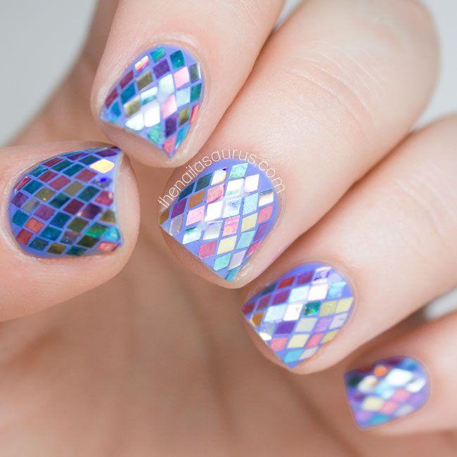 The Nailasaurus | UK Nail Art Blog: Rainbow Fish Glitter Placement Nail Art