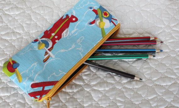 Pencil case fabric pencil case boy's pencil case blue by Jamberoon