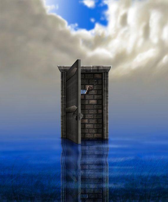 Open Door with Brick Wall in Calm Shallow Water by PlayfulPixieStudio