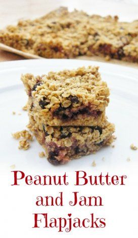 Peanut butter and jam flapjacks - click for photos and recipe