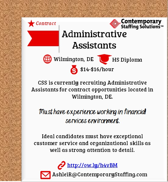 CSS is #hiring Administrative Assistants in Mt Laurel, NJ l Email - resume for job