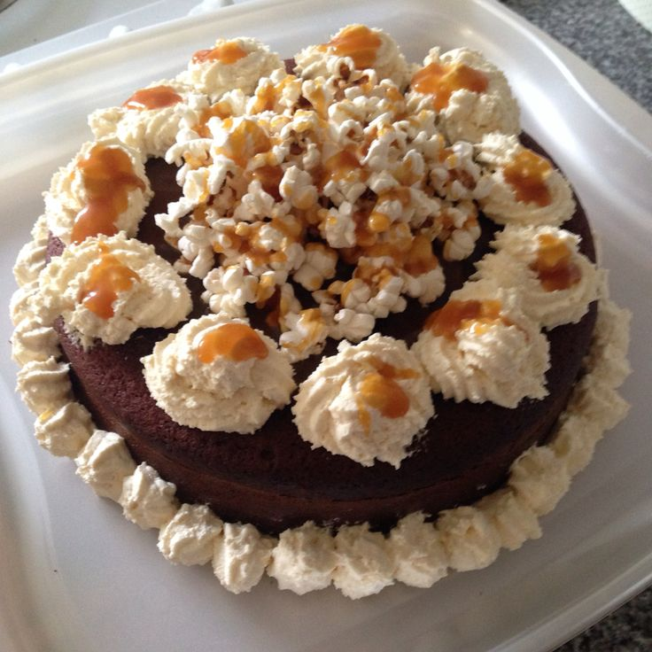 Salted Caramel Chocolate Toffee Popcorn Cake!