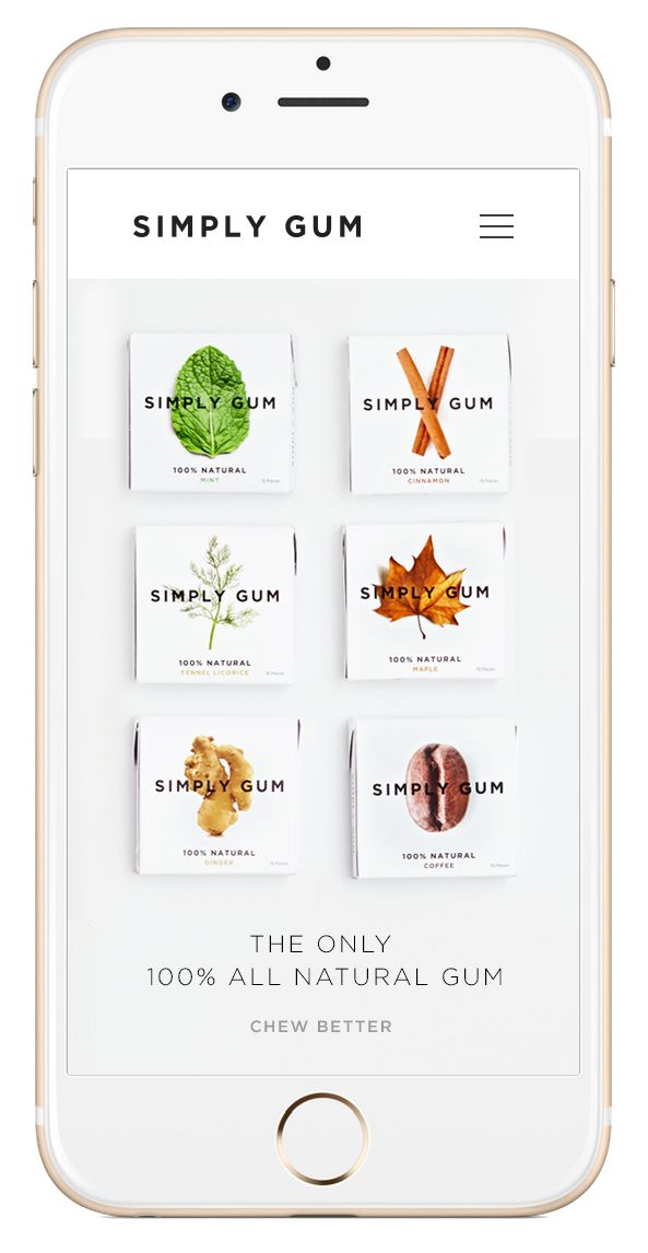 Hired by and teamed up with Parrish to redesign Simply Gum. Less is more ecom.