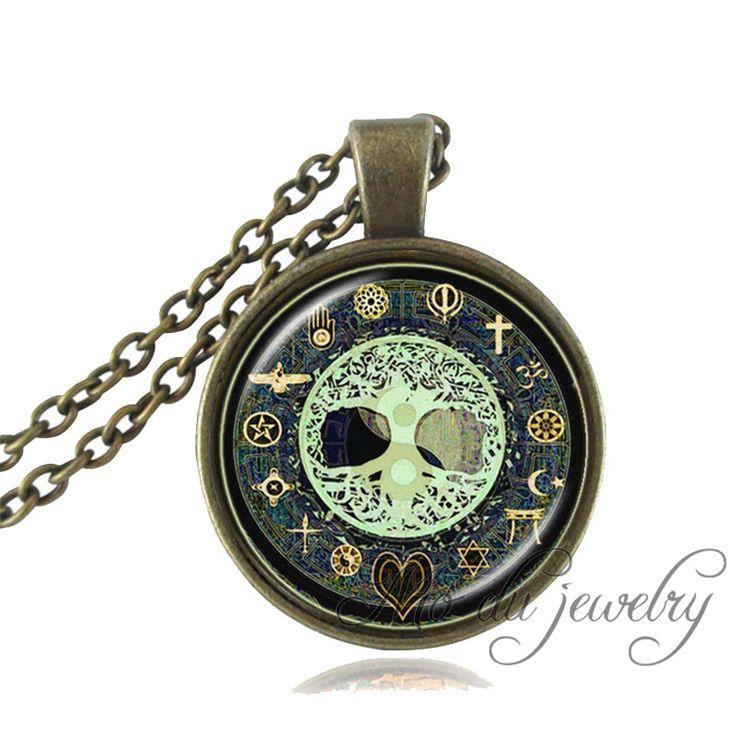 >> Click to Buy << Yin yang pendant tree of life necklace cross,moon,heart,Fatima Hand Solomon seal,om,mandala art pendant glass dome jewelry #Affiliate