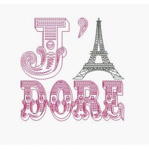 Motif de broderie machine J' adore Paris