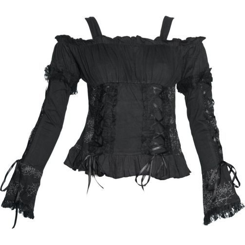 Black off-the-shoulder top by Raven SDL, with long sleeves, cobweb print, lace, satin ribbons.