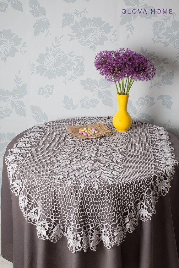 Tablecloth SIMONA SILVER Crochet tablecloth Oval by tatajashma