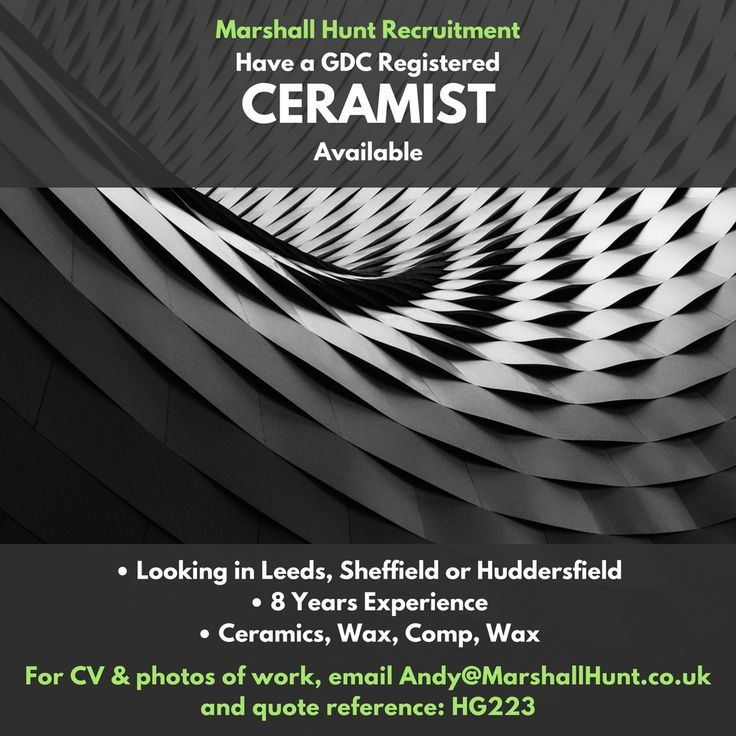 **Ceramist Available** looking for opportunities in Leeds, Sheffield or Huddersfield.  Email andy@marshallhunt.co.uk for CV and photos of work.