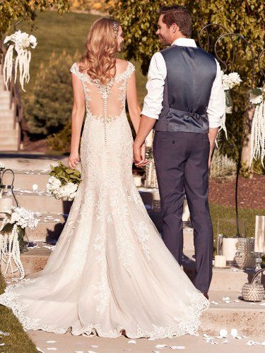 Rebecca Ingram - nancy, Shimmering lace motifs cascade over tulle in this classic fit-and-flare wedding dress, accenting the illusion V-neck, illusion cap-sleeves, and illusion scoop back. Finished with covered buttons over zipper closure.