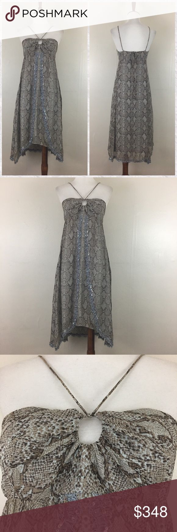 """Rebecca Taylor Silk Animal Print Sequin Dress *Condition: Excellent. No flaws to note. Tagged 4 but runs closer to size 2 in my opinion. Please see measurements!  *Keyhole Halter Strap neckline  *Empire Waist *Shark bite Front hem  *Closure: Side Zip  *Shell: 100% Silk  *Combo: 100% Nylon  *Lining: 100% Silk  *Care: Dry Clean  *Measurements are approx & taken lying flat *Bust: 30"""" *Empire Waist: 28"""" *Shoulder to Hem at the shortest point: 27.5""""  *Stored in non-smoking pet free home Rebecca…"""