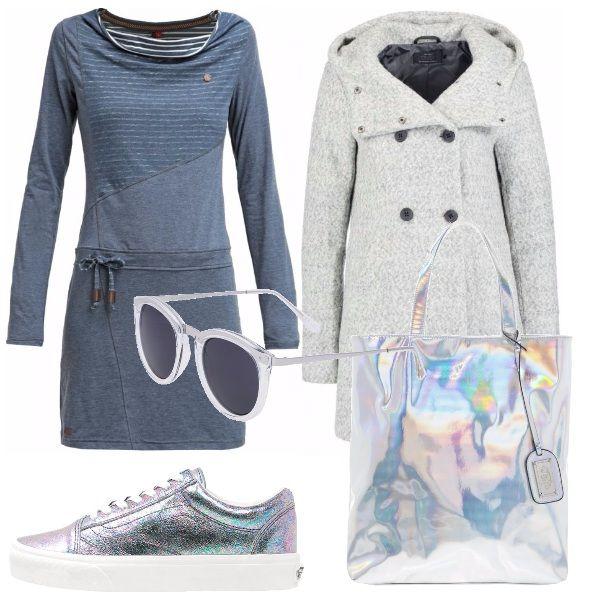 Outfit+comodo+e+ad+effetto:+vestitino+blu+carta+da+zucchero,+cappottino+melange+grigio+chiaro,+sneakers+cangianti+con+borsa+abbinata.+Occhiali+da+sole+neutri+per+queste+ultime+giornate+di+sole..