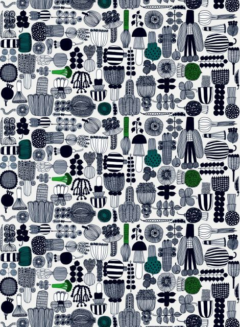 Puutarhurin parhaat coated fabric (l.grey,green,black) | Fabrics, Coated Cottons | Marimekko
