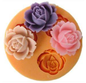 Nicole Cetakan Kue / Puding / Cokelat / Sabun Motif 3 Kuntum Mawar