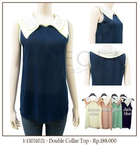 #MINEOLA #NewArrival - Double Collar Top Dark Blue. Also available in broken white, salem, and green color. Get this for only Rp.188.000,-   Fabrics: Polyester - Product code: 1-13031021 - Bust: 84cm - Length: 61cm