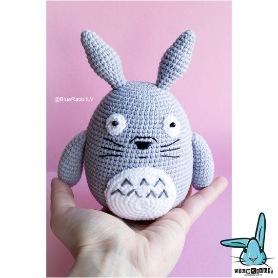 Grey Totoro PDF file amigurumi crochet pattern. от BlueRabbitLV
