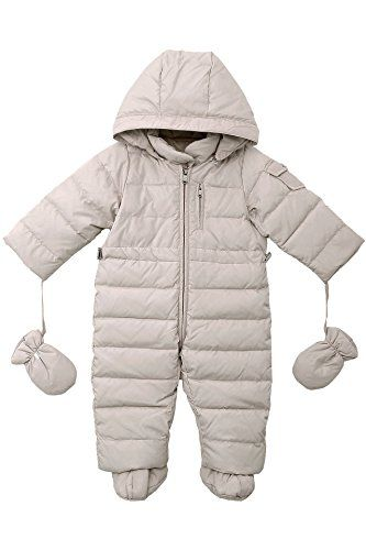 3001d2adf OCEANKIDS Baby Boys Girls Beige Pram One-Piece Snowsuit Attached Hood 12M 9-12  Months