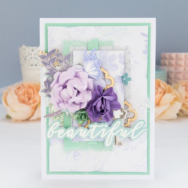 Delicate and soft card made with Kaisercraft Lilac Whisper collection. #cardmaking #scrapbooking #card #kartka #kaisercraft