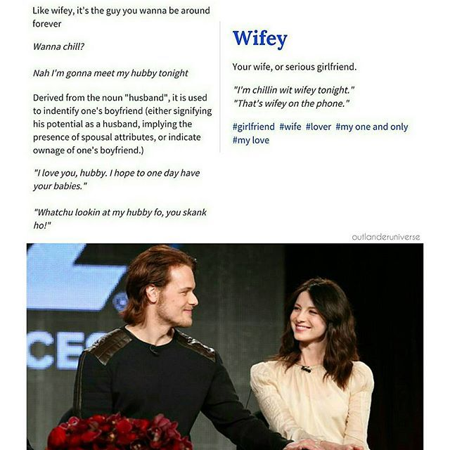 I'm just saying... #samheughan #jamiefraser #caitrionabalfe #clairefraser #outlander #twitter #cuties #otp #wifey #hubby #sorrynotsorry #meaning #couple