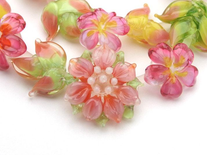 Beautiful lampwork flowers