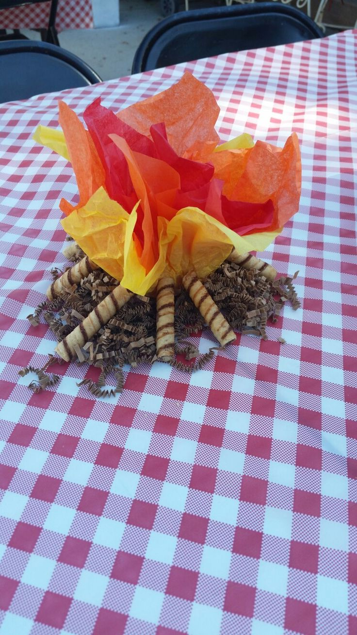 Dollar tree campfire centerpieces -tissue paper -brown decorative shred -piroulines -battery operated flickering lights (ALL FROM THE DOLLAR TREE!)
