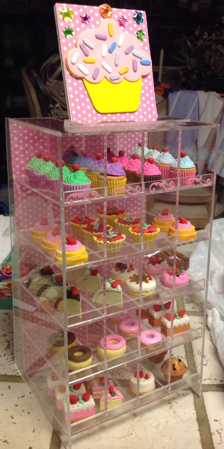 Scrapbook paper display - Pen Display Worked Perfect For Pastries For The Bakery I Added Scrapbook Paper To The