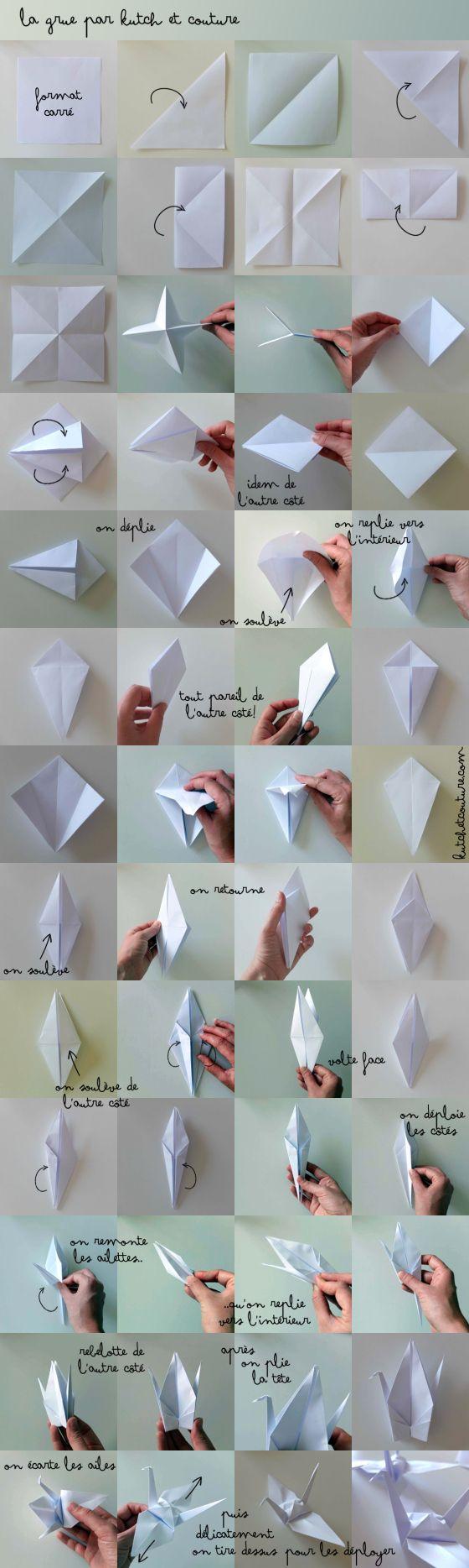"""Origami : """"la grue"""", oiseau symbole de paix  au Japon. J'en ai fait des centaines pour Noël, pour des mariages , la fête des écoles, les anniversaires ... en renouvelant papiers et couleurs, en les posant ou les suspendant... en miniature on peut en faire de jolis bijoux..."""