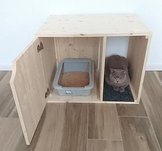 Cat Litter Box Cover Pet Furniture Cat House Modern Litter Etsy Areneros Para Gatos Muebles Para Mascotas Casita Para Gatos