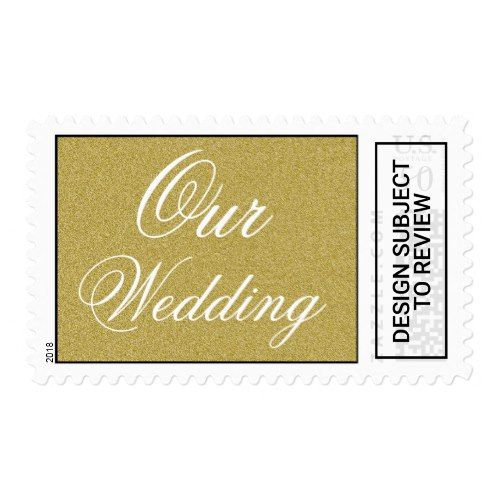 Elegant Script Glitter Gold Our Wedding Stamp   Zazzle com