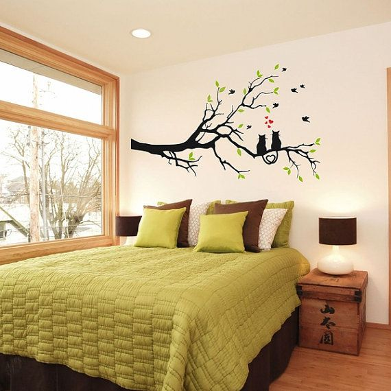 Tree with cats Wall Decal, Black Cats Decal, Cats and Birds Decal,  Leaves on…