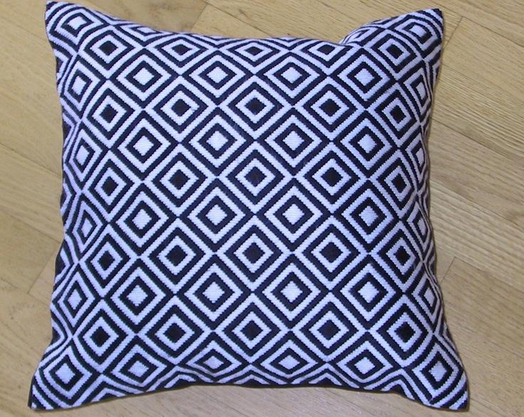 Pillow: Bargello Needlepoint Black and White Diamonds Hand Embroidered Needlepoint Pillow Cushion.