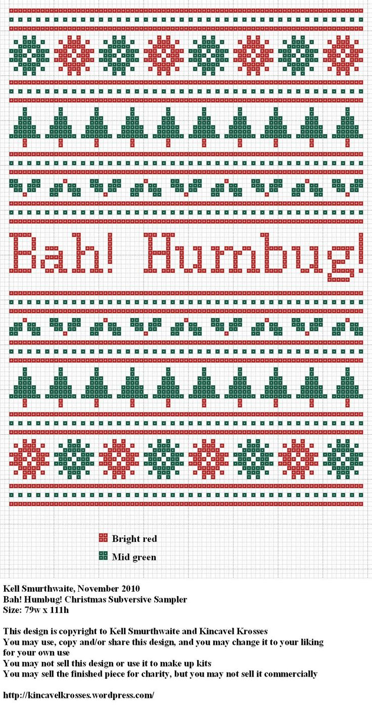 Design: Bah! Humbug! Christmas Subversive Sampler Size: 79w x 111h Designer: Kell Smurthwaite, Kincavel Krosses Permissions: This design is copyright to Kell Smurthwaite and Kincavel Krosses You ma...