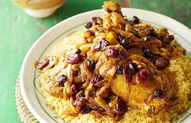 Goddelijke Marokkaanse zoet-hartige couscous met kip