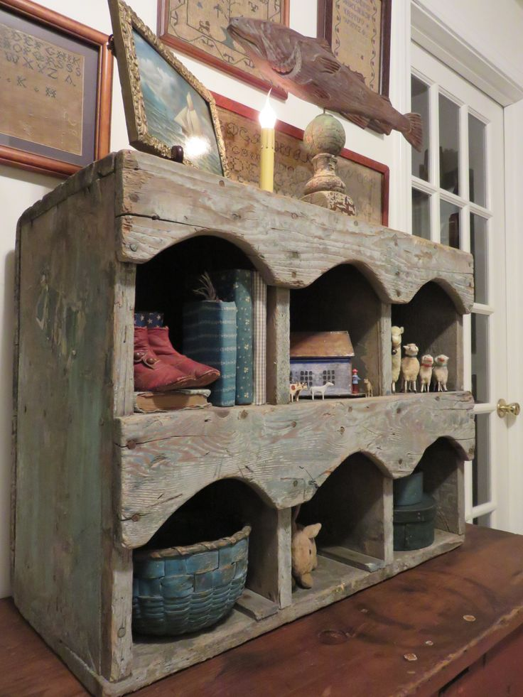 Ebay: Primitive antique cubby or nesting box. Traces of old blue paint. SOLD