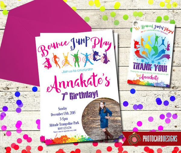 Trampoline Birthday Invitation | Bounce Party |  Card | Printable | Digital | file | invite | Jump Park | Party | Trampoline | Thank You Tag by PhotocardDesign on Etsy https://www.etsy.com/listing/262190796/trampoline-birthday-invitation-bounce
