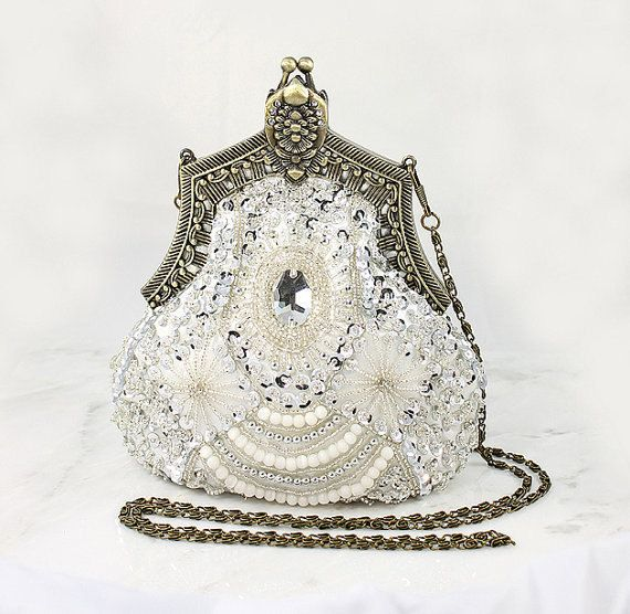 Art Deco Bridal Clutch, Old Hollywood Evening Bag, Handbag Purse great Gatsby Wedding Beaded Sequin 1920 Flapper inspired Accessory on Etsy, $112.00