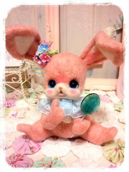 *opera*ピンク色candyバニーちゃん16cm*羊毛フェルト_画像3